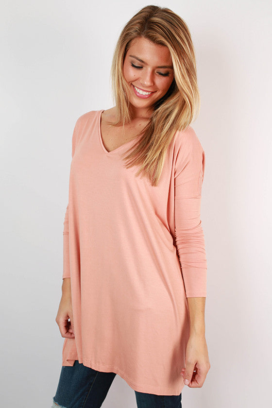 PIKO V-Neck Tunic in Dark Nude