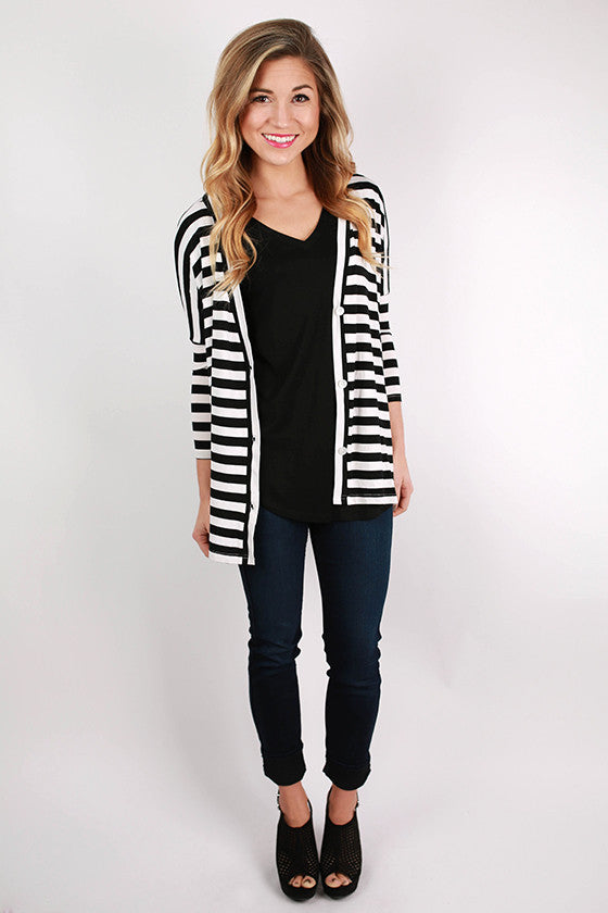PIKO Stripe Button Up Cardi in Black