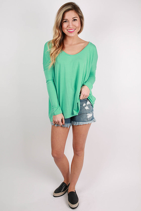 PIKO Tee Scoop Neck in Light Turquoise