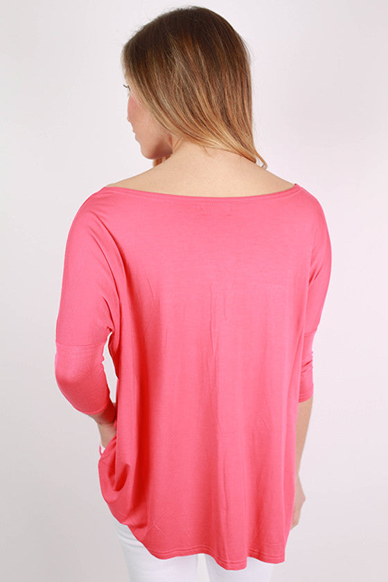PIKO Mid Sleeve Tee in Coral