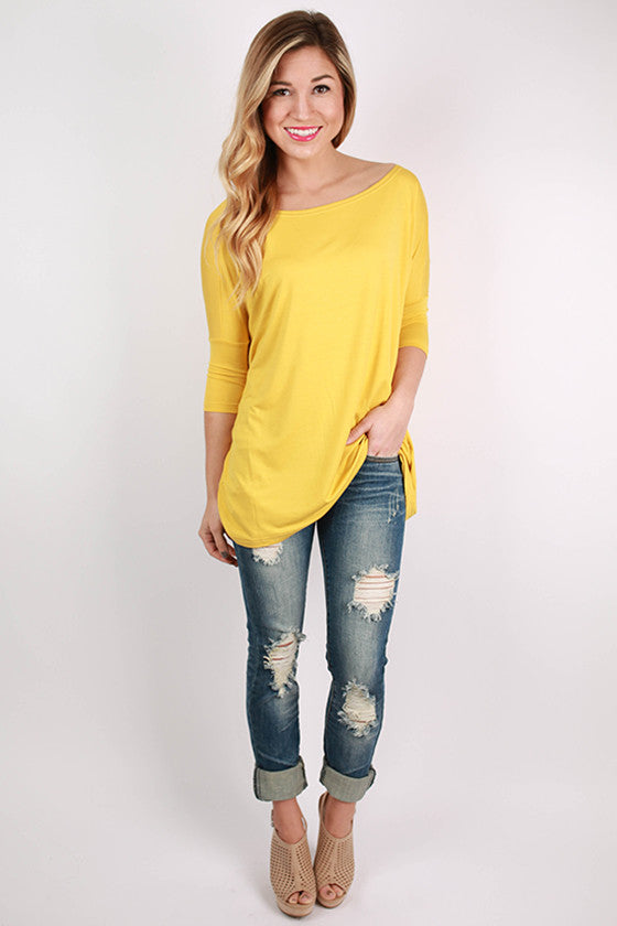 PIKO Mid Sleeve Tee in Gold