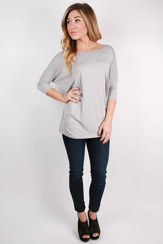 PIKO Mid Sleeve Tee in Light Grey