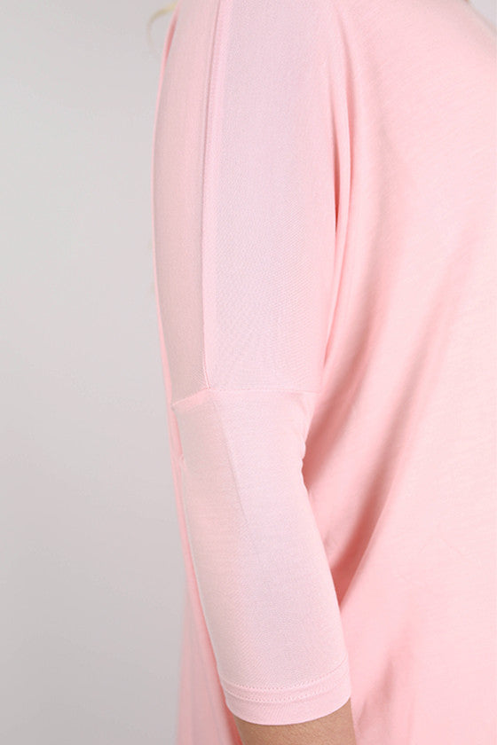 PIKO Mid Sleeve Tee in Light Peach