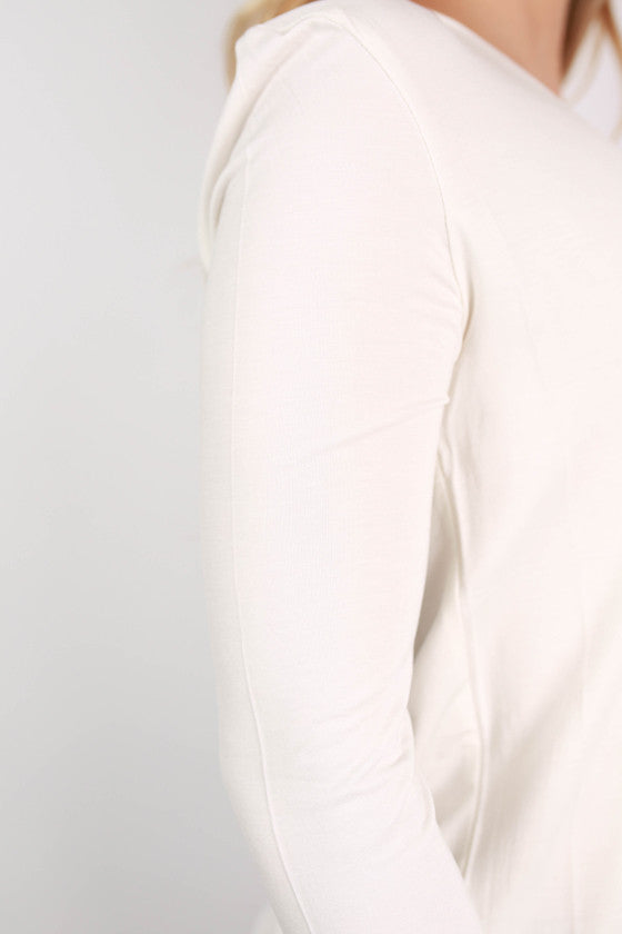 PIKO Long Sleeve V-Tee in Off White
