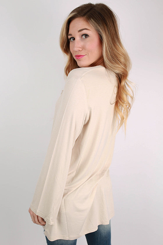 PIKO V-Neck Swing Tee in Beige
