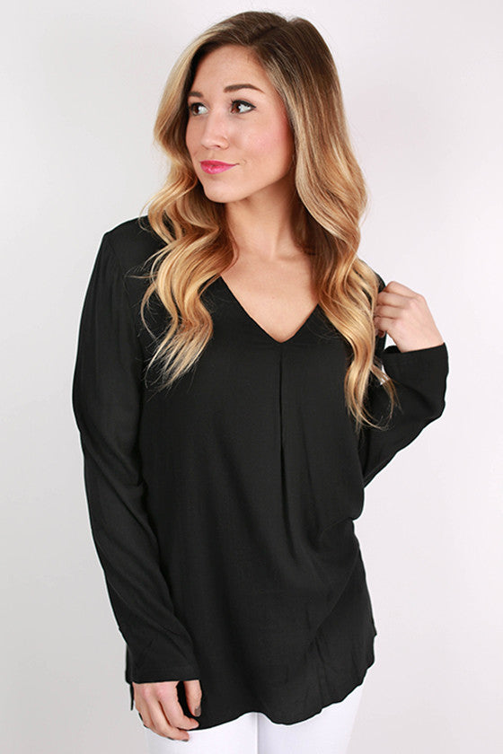 PIKO V-Neck Woven Top in Black