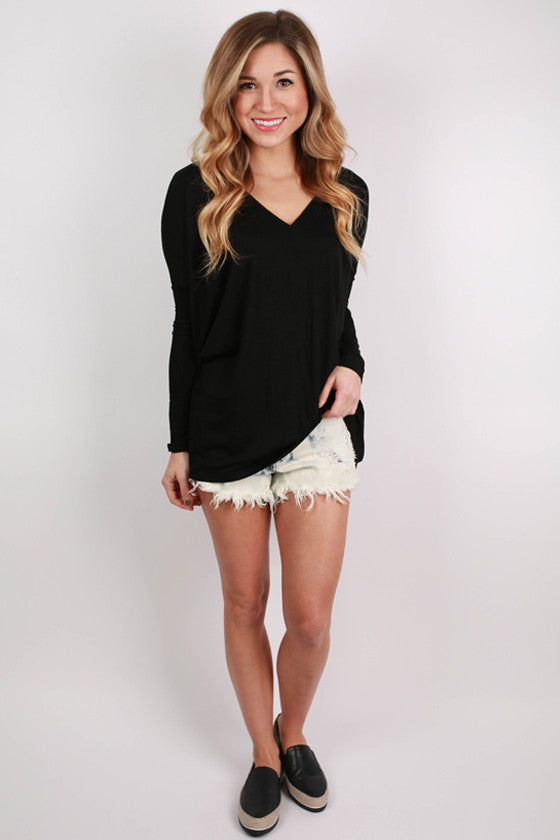 PIKO Loose Fit V-Neck Tee in Black