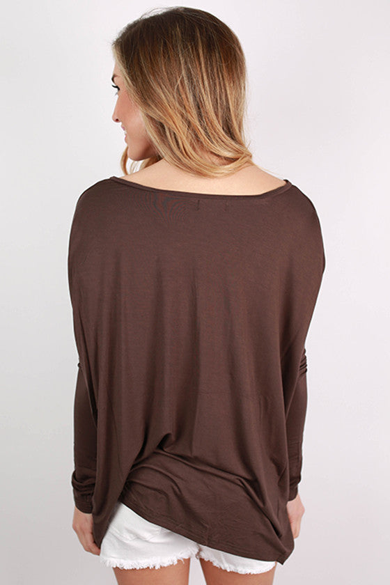 PIKO Loose Fit V-Neck Tee in Dark Brown