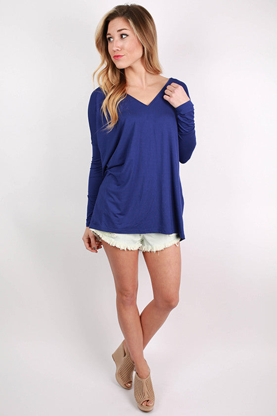 PIKO Loose Fit V-Neck Tee in Violet