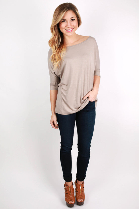 PIKO Short Sleeve Dolman Tee in Light Brown