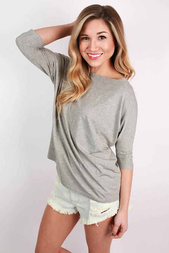 PIKO Short Sleeve Dolman Tee in Dark Heather Grey