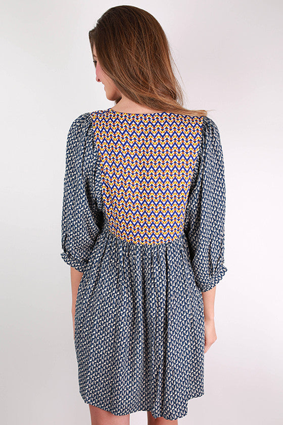 Make You Smile Dress in Navy