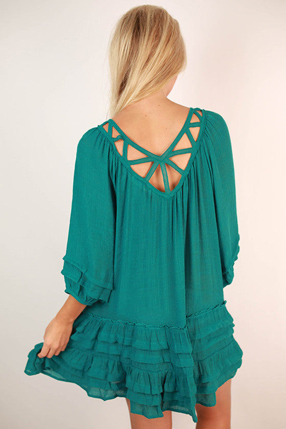 All The Rage in Ruffles Dress in Teal