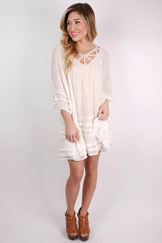 All The Rage in Ruffles Dress in White