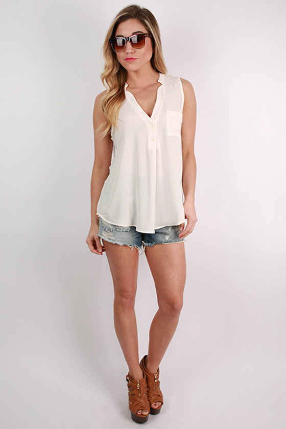 Pocket Popular Tank in Off White