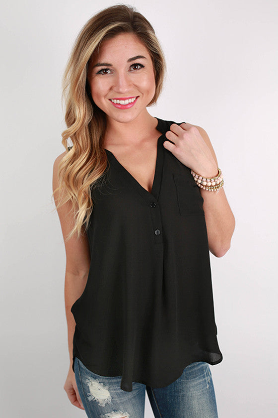 Pocket Popular Tank in Black