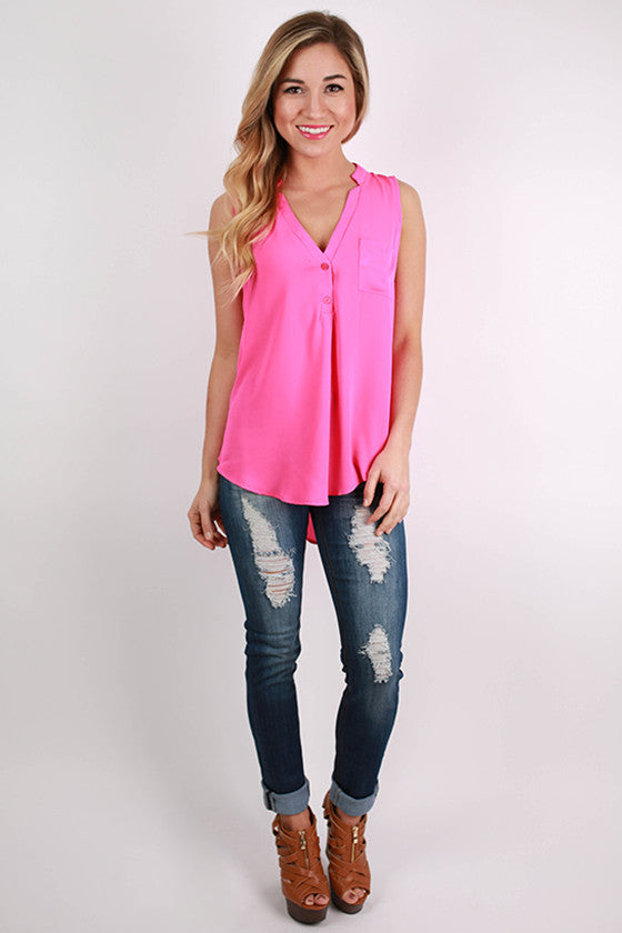 Pocket Popular Tank in Hot Pink