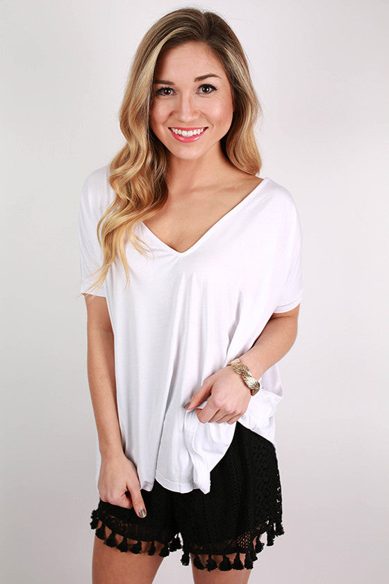 PIKO V-Neck Short Sleeve Tee in Bleach White