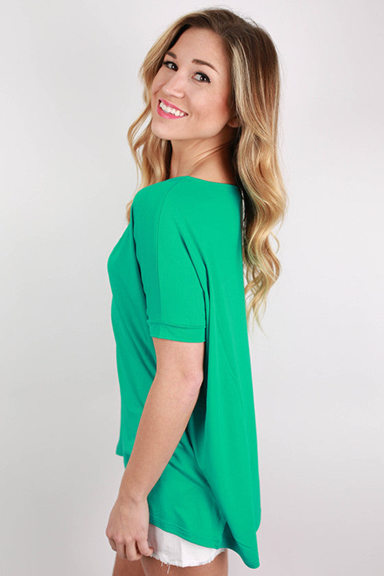 PIKO V-Neck Short Sleeve Tee in Bright Turquoise