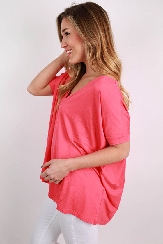 PIKO V-Neck Short Sleeve Tee in Coral