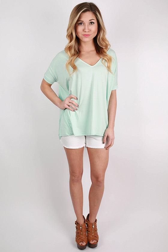 PIKO V-Neck Short Sleeve Tee in Mint