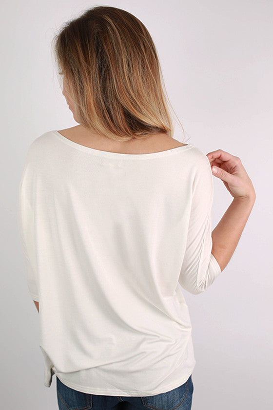 PIKO Short Sleeve Dolman Tee in Off White