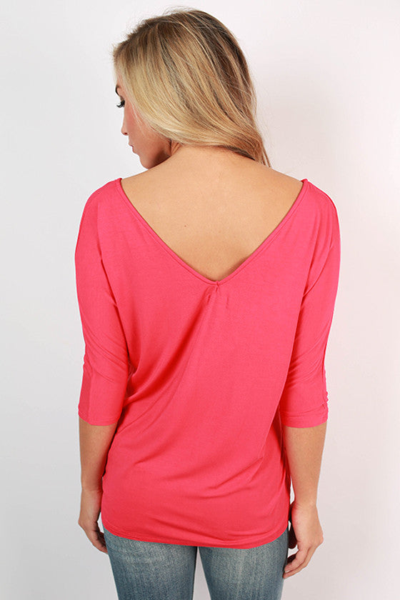PIKO V-Neck Dolman Tee in Watermelon