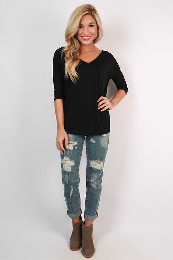 PIKO V-Neck Dolman Tee in Black