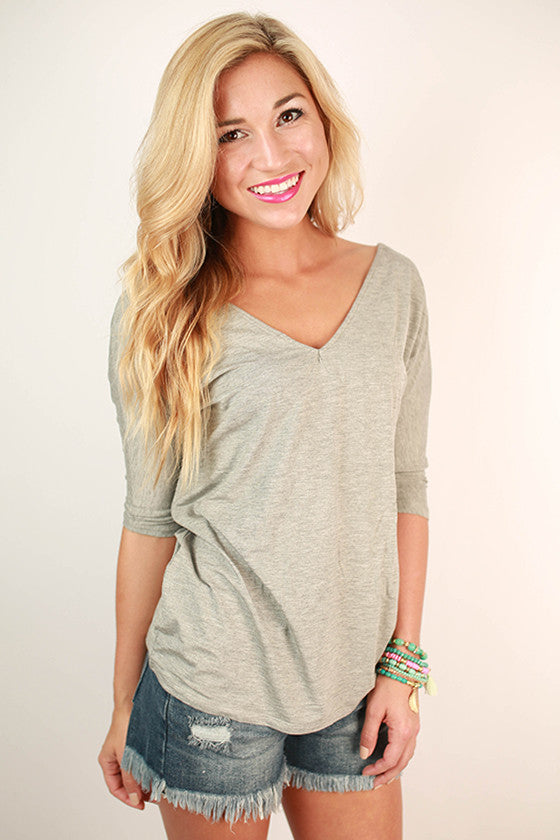 PIKO V-Neck Dolman Tee in Dark Heather Grey