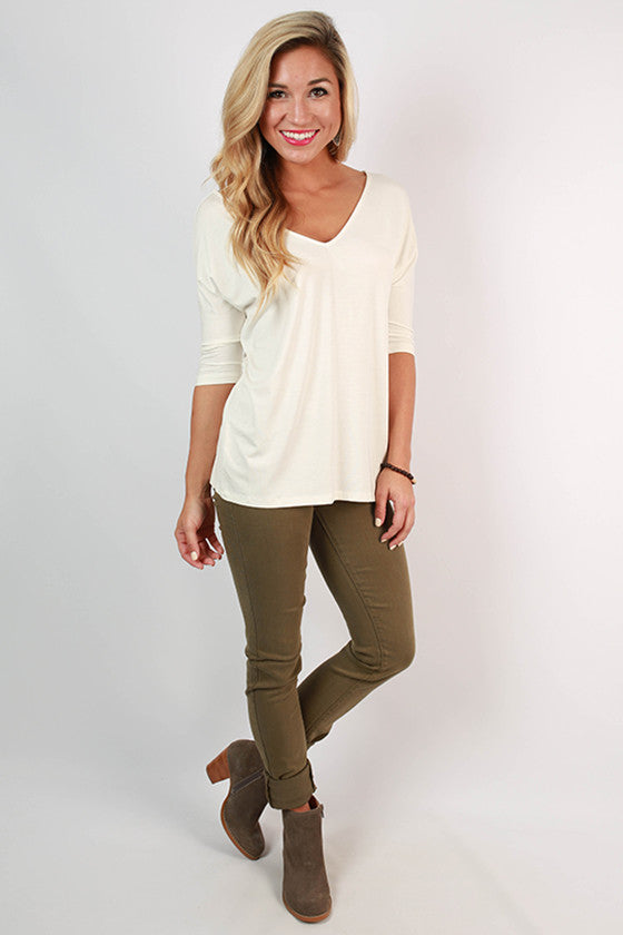 PIKO V-Neck Dolman Tee in Off White