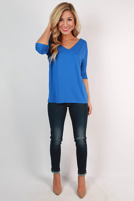 PIKO V-Neck Dolman Tee in Royal Blue