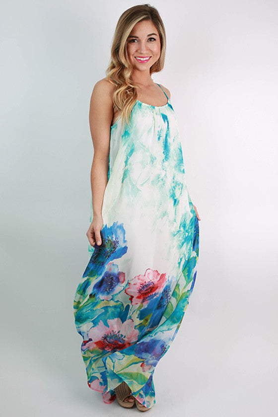 Pretty Voyager Maxi Dress in Ocean Blue