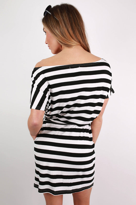 PIKO Relaxed Fit Stripe Dress in Black