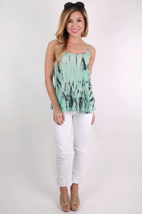 Merry Go Wow Tank in Turquoise Tie Dye