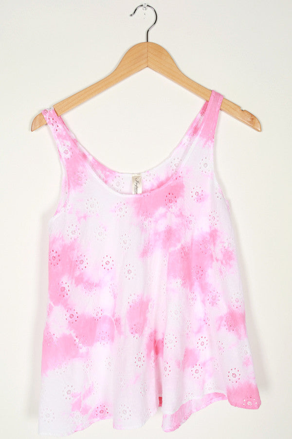 Sweet Swing Tie Dye Tank in Pink