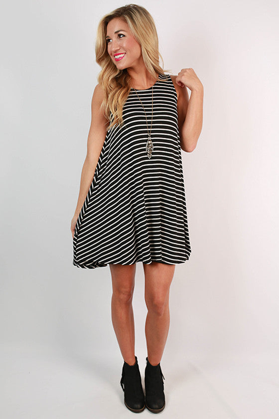 Stripes On Repeat Trapeze Dress in Black