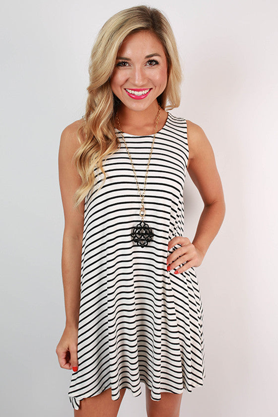 Stripes On Repeat Trapeze Dress in White
