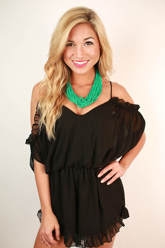 Butterfly Flutters Romper in Black