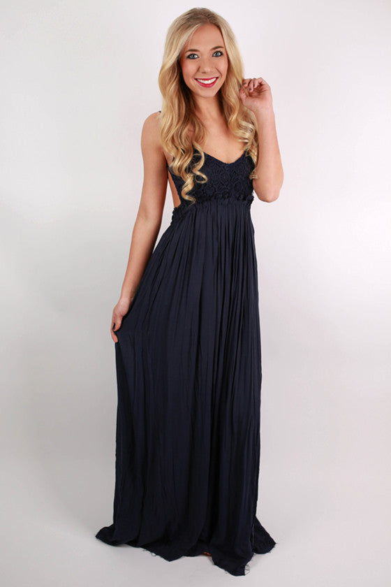 The Grand Reveal Maxi Dress in Navy
