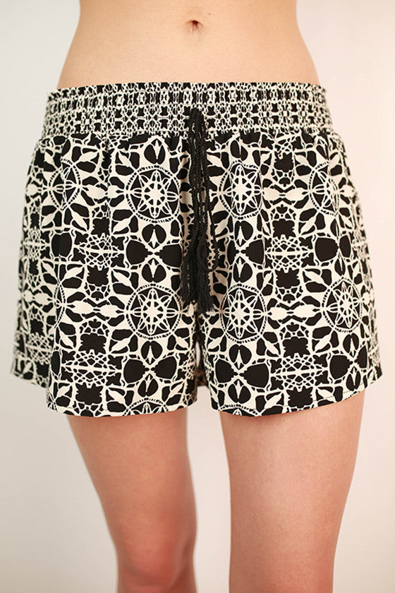 Capri Cool Smocked Waistband Shorts in Black