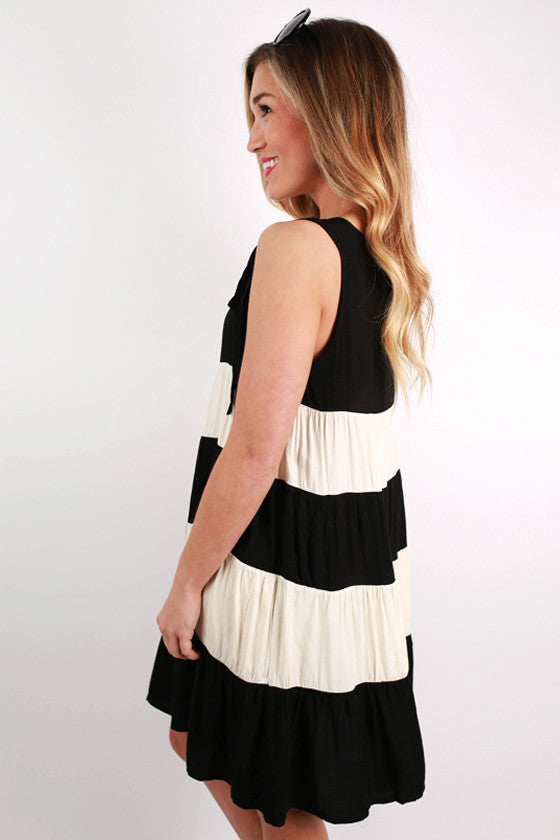 More Stripes Please Flare Dress in Black