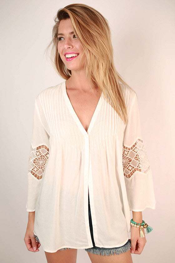 Beachy Keen Embroidered Top in Ivory