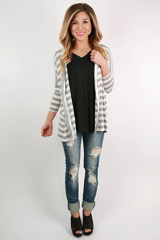 PIKO Stripe Button Up Cardi in Grey