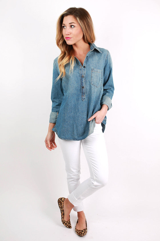 Beach & Bliss Washed Denim Top