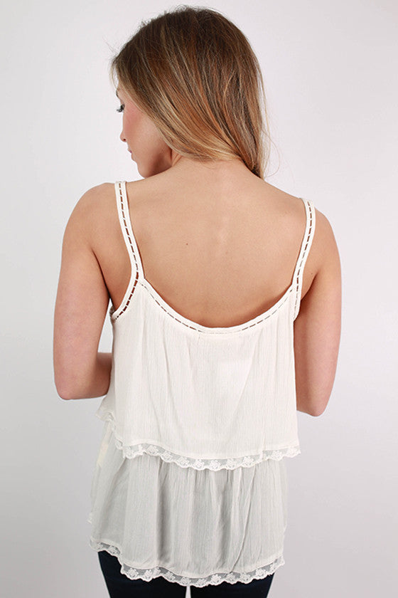 Meet Me Over The Sea Layer Tank in White