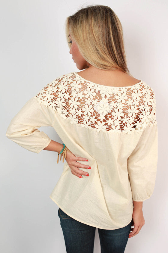 Floral Fields Lace Top in Ivory