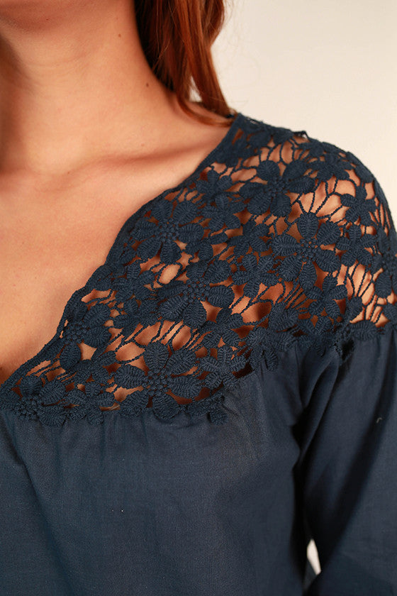 Floral Fields Lace Top in Navy