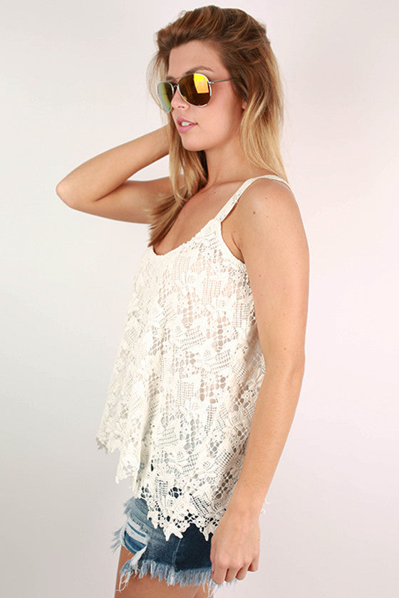 Botanical Gardens Crochet Tank in White