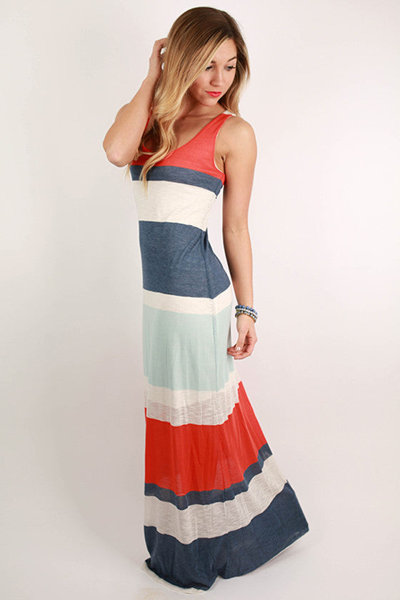 Lovely Stripe Maxi in Tangerine