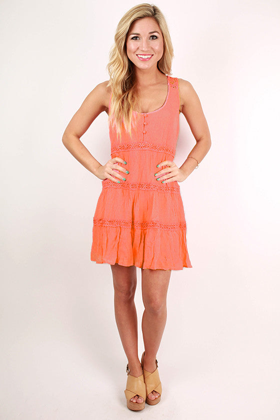 Mediterranean Cruisin' Dress in Coral